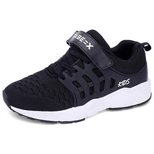 Minbei Unisex Kinder Hallenschuhe Jungen Sneakers Atmungsaktive Sportschuhe Laufschuhe Mädchen Leichte Turnschuhe Schwarz 28 EU