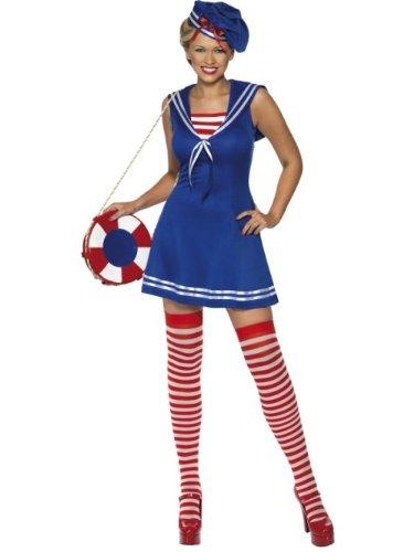 Smiffys Matrosen-Kostüm, Kleid, Baskenmütze und Strümpfe, Blau, Größe L