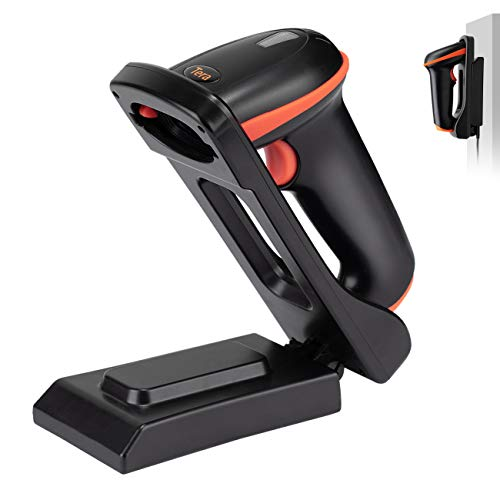 Tera Barcode Scanner 1D 2D QR Wireless Kabellos 2,4 GHz + Wired USB 2,0 Kabelgebunden Handscanner Barcodelesegerät mit Verstellbarem Klappständer und Ladeschale an der Wand montierbar, D5100-Z