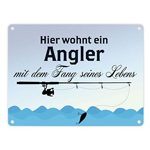 trendaffe - Angler mit dem Fang seines Lebens Blechschild in 15x20 cm Comic-Style - Metallschild Dekoschild