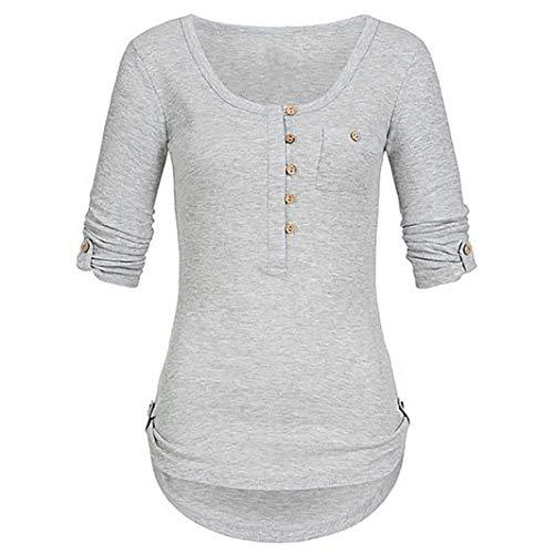 iYmitz Tunika Oberteil Damen Langarm Weihnachten Blusen Elegante Frauen Solide Langarm Knopf Bluse Beiläufig Täglich Pullover Tops Shirt Mit...