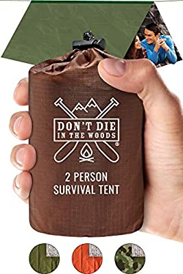 World's Toughest Ultralight Survival Tent • 2 Person Mylar Emergency Shelter Tube Tent + Paracord • Year-Round All Weather Protection For Hiking, Camping, & Outdoor Survival Kits (Army Green)