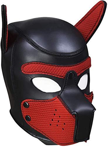 Geagodelia Festa in Costume di Halloween Gioco di Ruolo Imbottito in Lattice di Gomma Role Play Dog Mask Puppy Cosplay Testa Piena con Orecchie 10 Colori