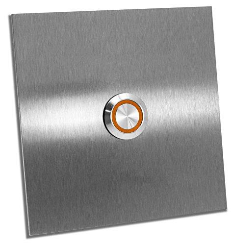 Jung Edelstahl Design Türklingel Bochum E1, Klingel V2a Edelstahl Led (orange) Klingelplatte 10x10 cm