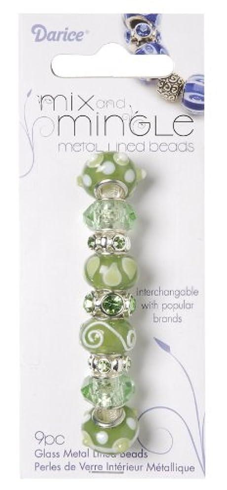 Darice Mix and Mingle Glass Lined Metal Beads, Light Sage