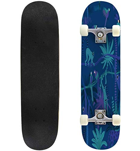 31'' Complete Skateboards Jungle Wildlife Animals Seamless Pattern Cats Flying Stock Standard Skateboards for Beginners Kids Adults, Maple Double Kick Deck Concave Skate Board Longboard