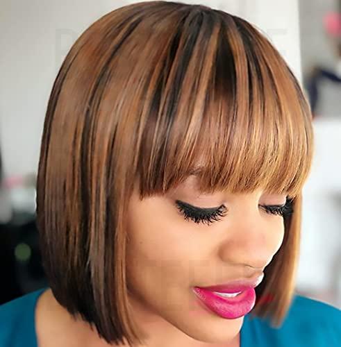 Short Bob Wigs Human Hair With Bangs Straight Wigs 100% Brazilian Virgin Hair Glueless Machine Made Wig Ombre Blonde Highlight wig Short Bob Wigs For Black Women (8 inch, 4/27)