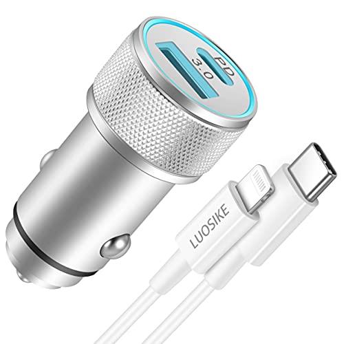 LUOSIKE 20W Zigarettenanzünder USB C Adapter mit 1m Lightning Kabel, Handy Auto Ladegerät, Dual-Port-Steckdose mit PD und QC3.0, Kompatibel mit iPhone 12/11/Pro Max/mini/SE 2020/XS/XR/X/8/Plus