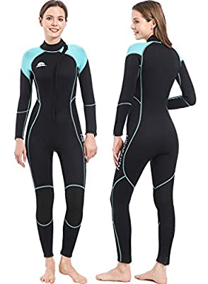 NeopSkin Diving Suit Men Women Youth 3mm Neoprene Wetsuit Warm Full Body Long Sleeve Wet Suits Front Zipper One Piece Swimsuit for Diving Snorkeling Swimming Surfing Canoeing (Women,L)