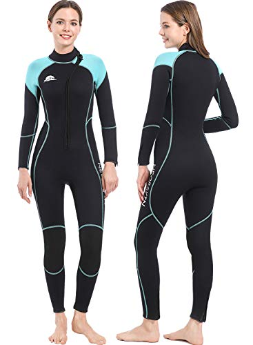 NeopSkin Mens Womens Wetsuit 3mm Full Diving Suit Youth Neoprene Wetsuit Warm Full Body Long Sleeve Wet Suits Front Zipper One Piece Swimsuit for Diving Snorkeling Swimming Surfing Canoeing