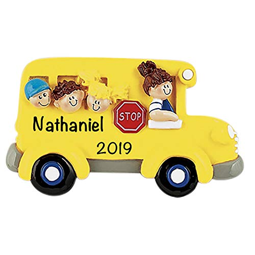 HolidayTraditions School Bus Kids Personalized Ornament - Unique Christmas Tree Ornament - Special Keepsake - Custom Decorations for Professors, Teachers, Students - Personalization Included