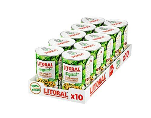 LITORAL Vegetal Garbanzos con Espinacas - Plato Preparado Sin Gluten - Pack de 10x425g - Total: 4.25kg