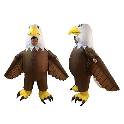 HBBDYZ Lustige Adler Form Erwachsene und Kinder Aufblasbarer Ganzkörperpackung Schutz Kapuze Coveralls Anti-Saliva Schutz waschbar und wiederverwendbar,Weiß,Child