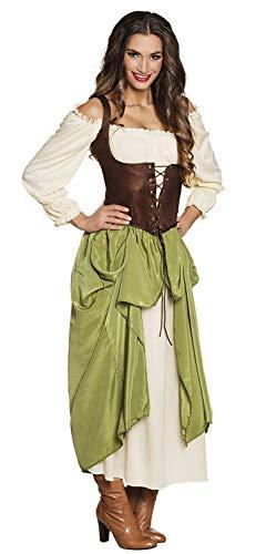 Boland 83781 - Erwachsenenkostüm Bauernmädchen, Damen, mittelalterliche Frau, Kleid mit Bluse, Unterrock, Korsage, Karneval, Halloween, Fasching, Mottoparty, Verkleidung, Theater