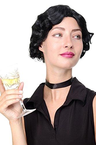 WIG ME UP- peluca de mujer los años 20 swing jazz Charleston Chicago raya en medio rizos pelo ondulado negro GFW1834-1