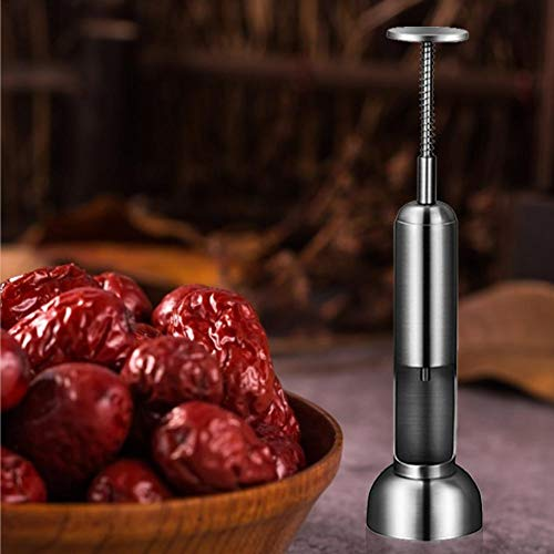 Vide-Pitter - Deshuesador de cerezas profesional 304 de acero inoxidable con mango de resorte para Dattes, cereza, oliva y rojo