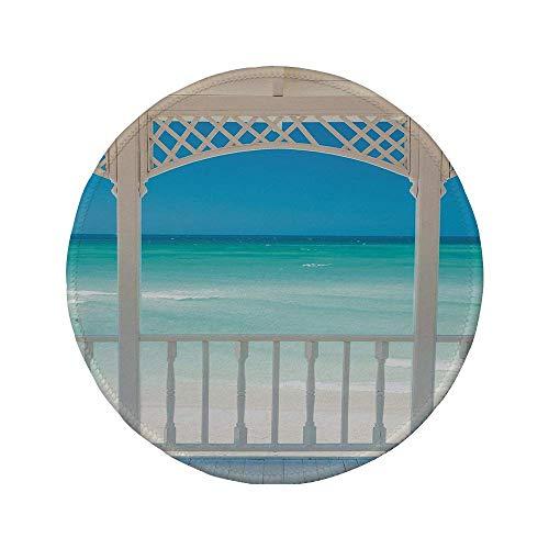 """Rutschfreies Gummi-rundes Mauspad Küstendekor romantische Holzterrasse mit Blick auf den tropischen Strand im Kuba-Pavillon Weißes Aquablau 7.9\""""x7.9\""""x3MM"""