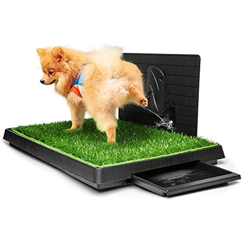 Hompet Dog Grass Pad with Tray Large, Puppy Turf Potty Training Pads with Pee Baffle, Artificial Grass Patch for Indoor and Outdoor Use, Ideal for Small and Medium Dogs (30