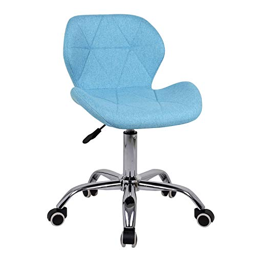 EUCO Office Chair,Leather Desk Chair for Home Adjustable Height Swivel Chair Comfy Padded Blue Computer Chair with Chrome Base,Home/Office Furniture (Light Blue, Fabric)