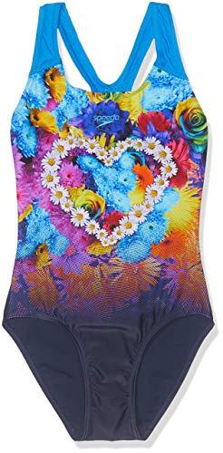 Speedo HippyHop Placement Digital Splashback, Costume da Bagno Bambina, Blu (Hippypop Navy/Aqua Splash), 9-10 Anni