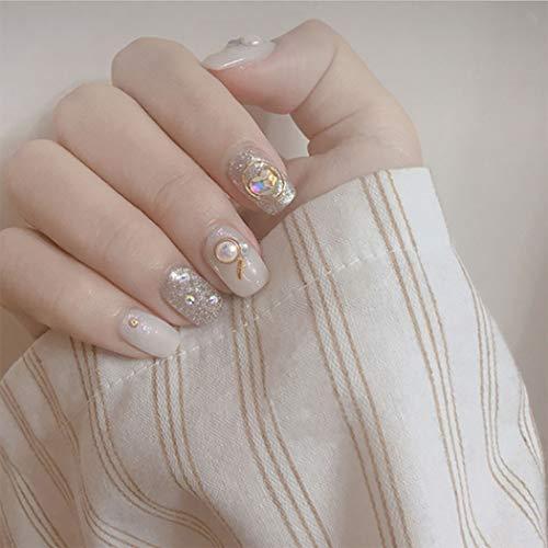 Edary Glossy Künstliche Nägel Transparent Glitter-Herz-Perlen falsche Nägel Medium Square Press On Nails Full Cover Nägel für Frauen und Mädchen (24X)