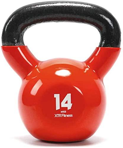 JLDN Kettlebell del hierro Hierro Fundido, Pesa Rusa portátil Antideslizante asa para fisicoculturismo Entrenamiento con Pesas, Kettlebells para gimnasio en casa o Set Crossfit entrenamientos,Red 14kg ✅