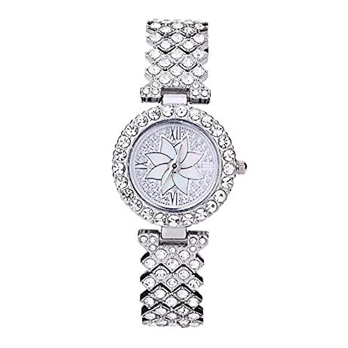 Ownlife Moda Diamond-Studded Temperamy Ladies Watch Pulsera Miendo Petals Diamond Face Dial Roman Numerales Cuarzo (Color : Silver)