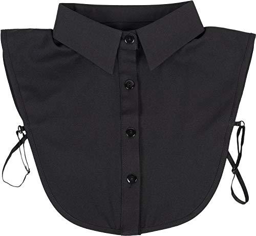 styleBREAKER Damen Blusenkragen Einsatz mit Knopfleiste Unifarben, Kragen für Blusen und Pullover 08020004, Farbe:Schwarz