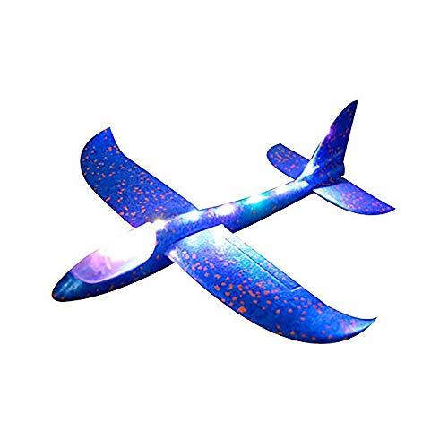Houkiper 48cm Jumbo Lanzamiento de la Mano lanzando Aviones avión Planeador de Espuma EPP avión de Juguete con luz LED y función de música para niños Deportes al Aire Libre (Azul)