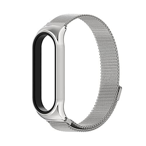 para MI Band 5 4 3 Strap Metal CS Pulsera para Xiao MI Watch Watch NFC Global Version (Color : Silver, Size : For Mi Band5 4 3)