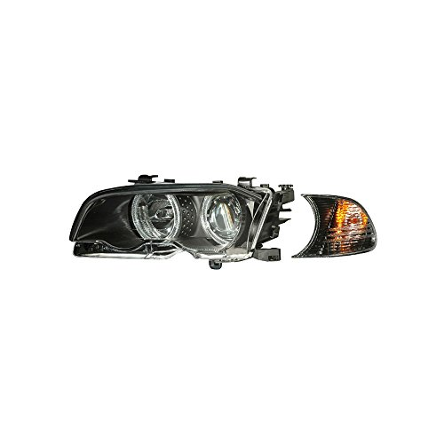 SPPC Projector Halo Headlights Assembly Set with Corner Light Black For BMW 3 Series E46(M3) 2 Door - (Pair) Driver Left and Passenger Right Side Replacement Headlamp