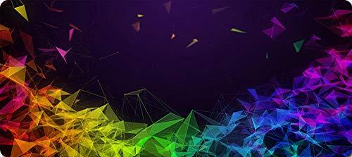 Tapis de Souris de Jeu XXL (600X300X3MM) Grand Tapis de Souris étendu et Confortable Tapis de Clavier étanche avec Base antidérapante-Colorful Rhombus