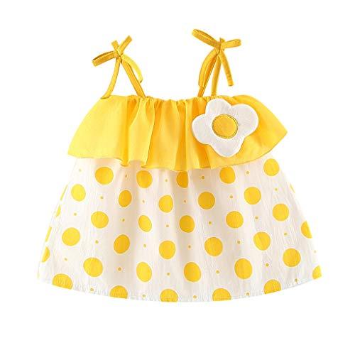 Julhold Vestido de verano para niñas y niños, con correa de lazo, estampado de lunares, vestido de princesa