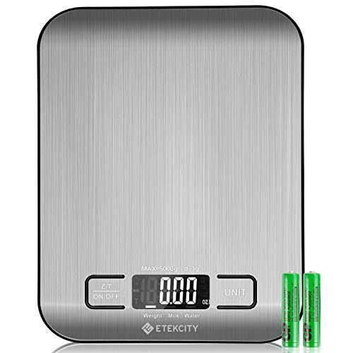 Etekcity Food Digital Kitchen Scale Weight Grams and Oz for Baking and Cooking, 0.67.35.7 in, Stainless Steel(2019 Upgraded)