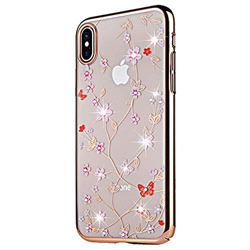 JZWDMD para iPhone XR Funda,para iPhone X Funda Rhinestone Swarovski Elements Parachoques con Borde Suave Bumper Case para Apple iPhone 7 Plus/iPhone 8 Plus,D,iPhone8/7