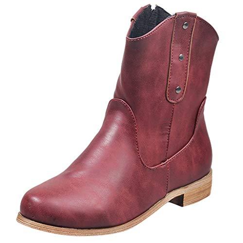 HDUFGJ Stiefel Damen Stiefeletten Leder Warm Mittlere Stiefel Chelsea Boots Outdoor-Schuhe gefüttert wasserdicht Reißverschluss Winterstiefel Keilstiefel38 EU(rot)