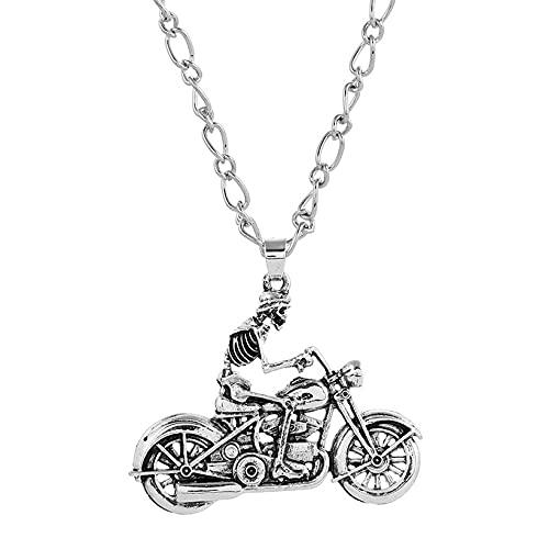 Collana in acciaio inox per moto biker scheletro punk rock harley davidson