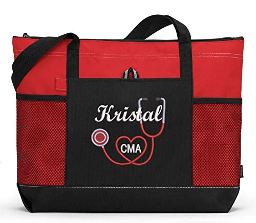 RN, LPN, CNA, Nurse, Medical Personnel Personalized Embroidered Tote Bag