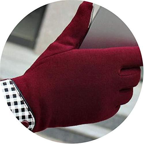 Small-shop Winter Gloves Gants d'hiver 2 Boutons tactiles pour Femme, Gants de Sport, moufles en Cachemire 5 Couleurs, Femme, G035 Red, Taille Unique