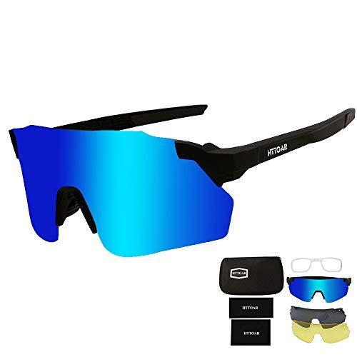 HTTOAR Gafas de Sol Deportivas,Gafas De Sol para Ciclismo con Proteccion Deportes al Aire Libre, Pesca, Ski, Conducción, Golf,Bicicleta,Ciclismo Gafas (black/blue)