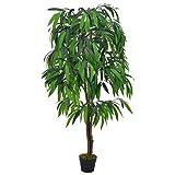 vidaXL Künstliche Pflanze Mangobaum mit Topf Kunstpflanze Dekopflanze Zimmerpflanze Topfpflanze Büropflanze Grünpflanze Kunstbaum Grün 140cm