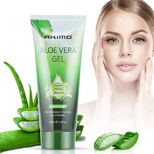 AKIMO Aloe Vera Gel & Vitamin C, E - 99% reine Pflanze, tief feuchtigkeitsspendend & Reparatur, nach Sonnenpflege, Feuchtigkeitsversorgung der trockenen Haut, 200 ml / 6.8 fl oz
