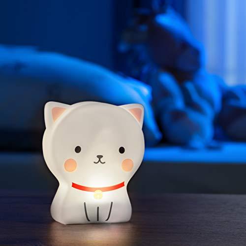 Led-nachtlampje voor kinderen, dierenfiguur, kat, kinderlamp met timer, met batterij