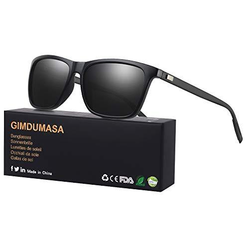 GIMDUMASA gafas lentes de sol retro vintage polarizadas para hombres de mujer GI777 (Marco negro con lente gris)