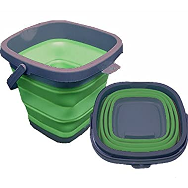Collapsible Bucket 10L Square - Perfect for the Trailer, Motorhome, Small Apartment, Camping, Boating, RV or Airstream