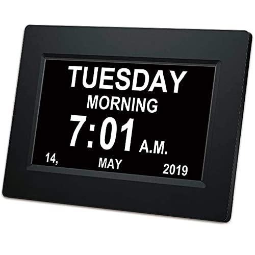 Reloj electrónico digital de escritorio de 20,32 cm con ajuste automático de brillo, adecuado para personas mayores + demencia de deterioro visual (negro)