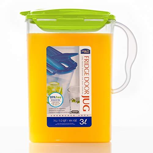 Lock & Lock Aqua Jarra de agua con asa para puerta de frigorífico, sin BPA, jarra de plástico con tapa abatible, perfecta para hacer tés y zumos, 3 cuartos de galón, color verde