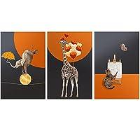 北欧のキャンバスの絵画動物の象キリン猫の絵画壁アートポスターとリビングルームとポーチの装飾のためのプリント40x50cmx3フレームレス