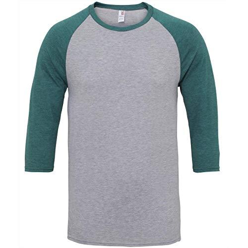 Anvil Unisex Two Tone Tri-Blend 3/4 Sleeve Raglan T-Shirt (M) (Heather Gray/Dark Green)
