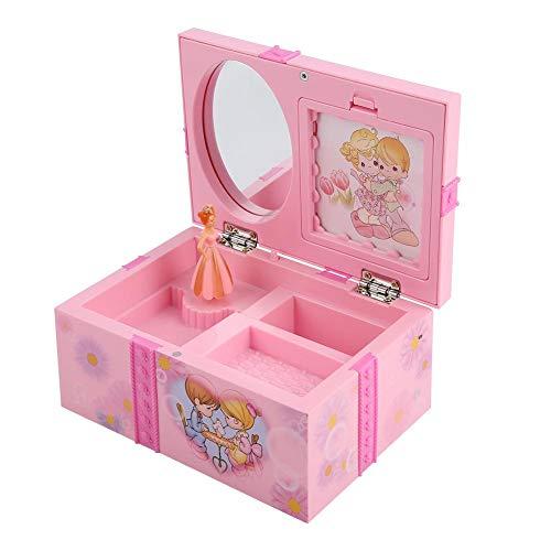 FTVOGUE Kinder Spieluhr Spielzeug Mädchen Cartoon Rosa Schmuck Spiegel Lagerung Kunststoffkoffer mit Rotary Tanzen